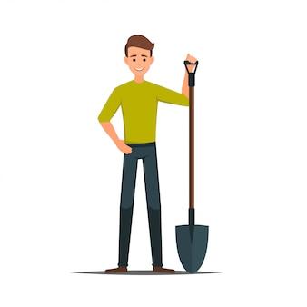 Personagem de desenho animado masculino vector com uma pá