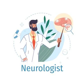 Personagem de desenho animado médico de uniforme, jaleco com dispositivos médicos e símbolos