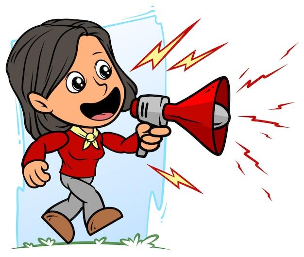 Personagem de desenho animado menina morena com megafone vermelho