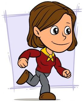 Personagem de desenho animado menina morena em execução
