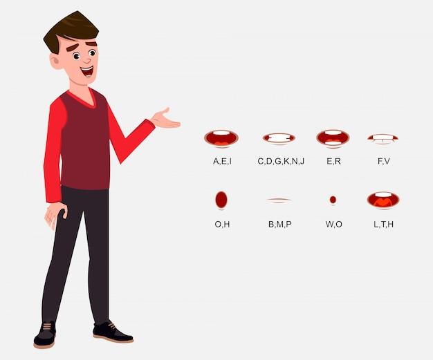 Personagem de desenho animado menino com diferentes tipos de expressões faciais para seu design, movimento e animação.