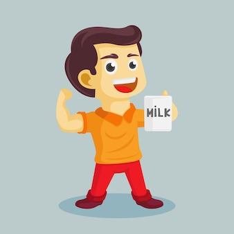 Personagem de desenho animado, menino convida para beber leite, enquanto mostra os músculos da mão ilustração em vetor plana