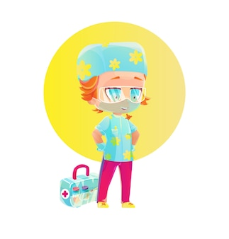 Personagem de desenho animado menino enfermeira