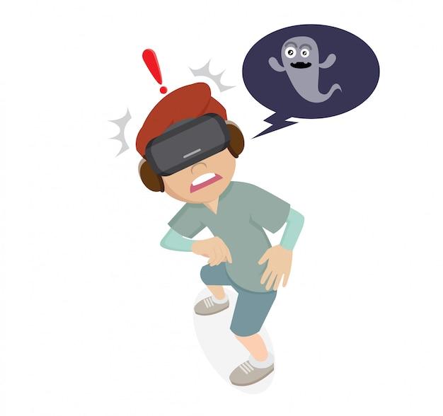 Personagem de desenho animado, meninos usando óculos vr e jogos de fantasma