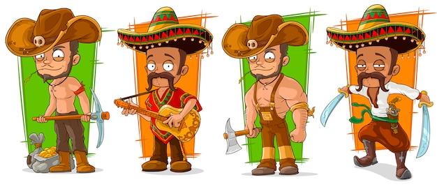 Personagem de desenho animado mexicanos e cowboys