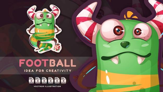 Personagem de desenho animado monstro do dia das bruxas joga futebol