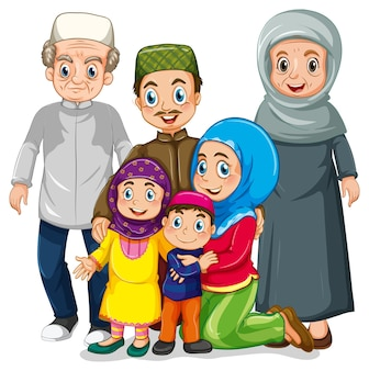 Personagem de desenho animado muçulmano feliz