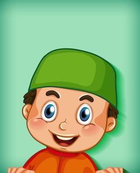 Personagem de desenho animado muçulmano masculino em fundo gradiente de cor