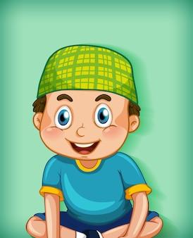 Personagem de desenho animado muçulmano masculino