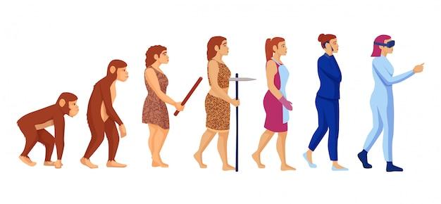 Personagem de desenho animado mulher carreira evolução ilustração