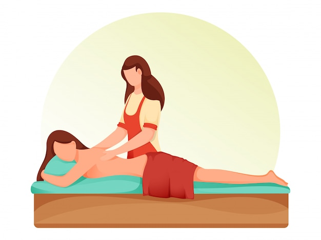 Personagem de desenho animado mulher deitada na cama, recebendo relaxamento nas costas massagem no spa.