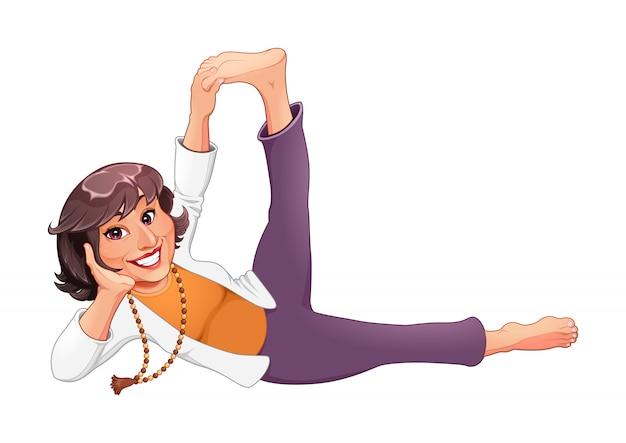 Personagem de desenho animado mulher fazendo pose de ioga