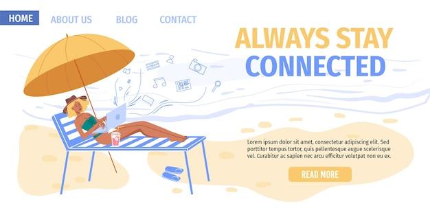 Personagem de desenho animado navegando na internet ao ar livre em viagens ou férias