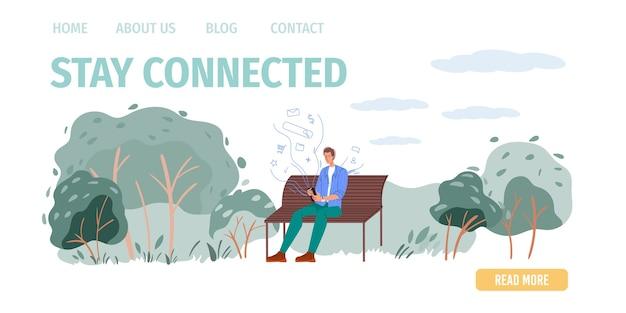 Personagem de desenho animado navegando na internet ao ar livre