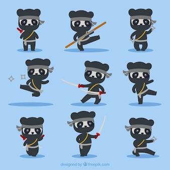 Personagem de desenho animado ninja em poses diferentes