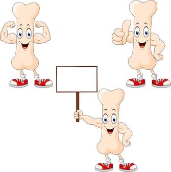 Personagem de desenho animado ossos felizes com poses diferentes