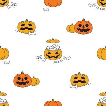 Personagem de desenho animado padrão sem emenda de halloween de abóbora