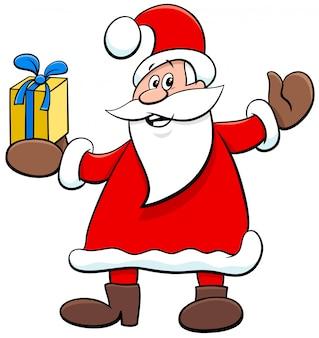 Personagem de desenho animado papai noel com presente de natal