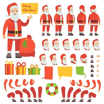 Personagem de desenho animado papai noel engraçado com presentes de natal. construtor de criação de vetor natal papai noel personagem ilustração