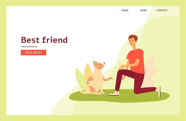 Personagem de desenho animado passando um tempo com seu animal de estimação - modelo de página de destino
