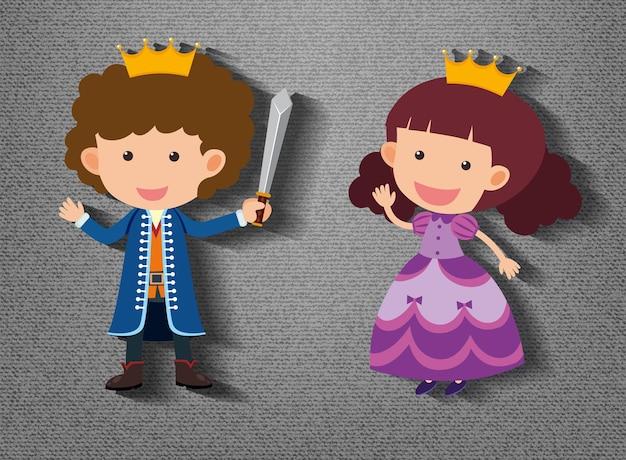 Personagem de desenho animado pequeno cavaleiro e princesa em fundo cinza