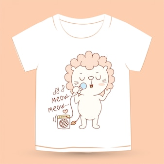 Personagem de desenho animado pequeno leão bonito para camiseta