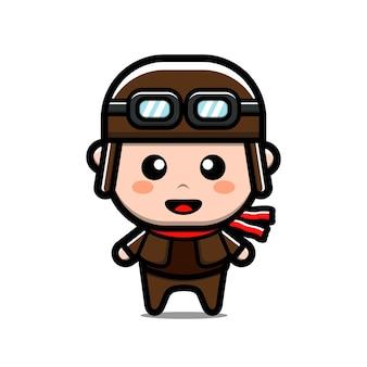 Personagem de desenho animado piloto fofo