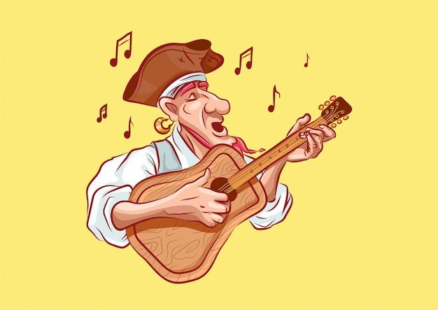 Personagem de desenho animado pirata canta música toca guitarra