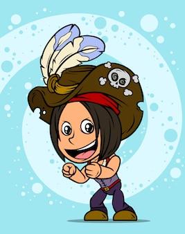 Personagem de desenho animado pirata morena em pé