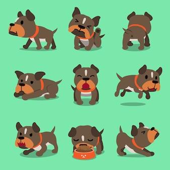 Personagem de desenho animado pit bull terrier poses de cão