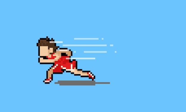 Personagem de desenho animado pixel art corredor com efeito de vento.