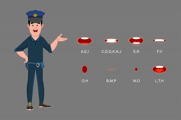 Personagem de desenho animado policial com diferentes tipos de expressões faciais para seu design, movimento e animação.