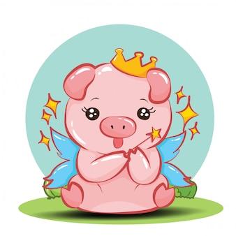 Personagem de desenho animado porco bonito.