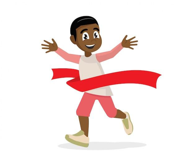 Personagem de desenho animado poses, vencedor da corrida de menino africano. vencedor da maratona