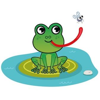 Personagem de desenho animado sapo com uma ilustração vetorial de mosca