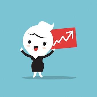 Personagem de desenho animado segurando carta com negócio no conceito de ascensão