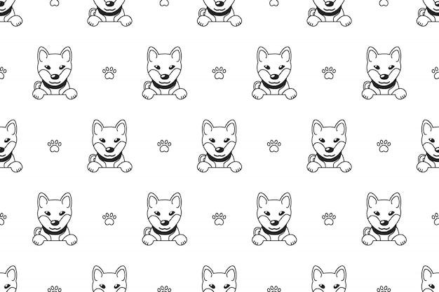 Personagem de desenho animado shiba inu dog seamless pattern