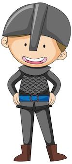 Personagem de desenho animado simples de um soldado isolado
