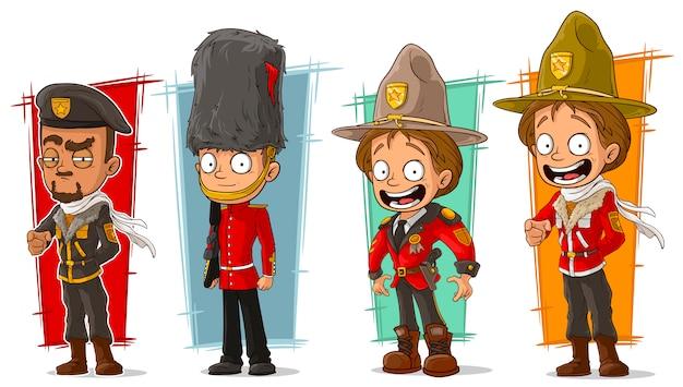 Personagem de desenho animado soldado e guardas florestais