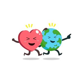 Personagem de desenho animado terra e coração correndo
