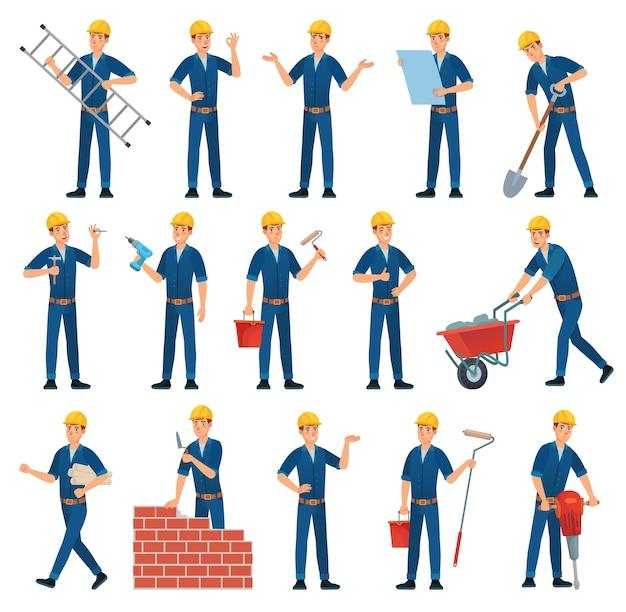 Personagem de desenho animado. trabalhadores técnicos, construtores e mecânicos.