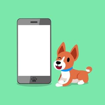 Personagem de desenho animado um cão basenji e smartphone