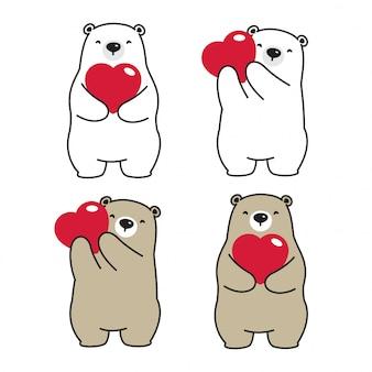 Personagem de desenho animado urso polar bear heart