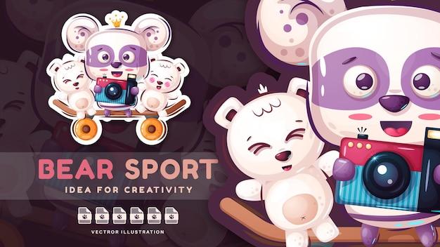 Personagem de desenho animado urso selfie fofo adesivo vetor eps 10