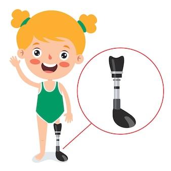 Personagem de desenho animado usando prótese