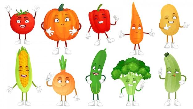 Personagem de desenho animado vegetal. mascote de alimentos vegetais saudáveis, cenoura e pepino engraçado. conjunto de ilustração isolada de legumes