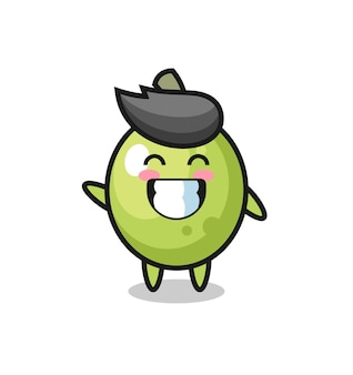 Personagem de desenho animado verde-oliva fazendo gesto de onda com a mão, design de estilo fofo para camiseta, adesivo, elemento de logotipo