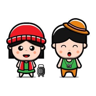Personagem de desenho animado viajando de menino e menina bonitos