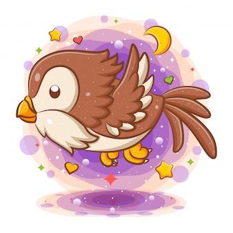 Personagem de desenho animado voador coruja