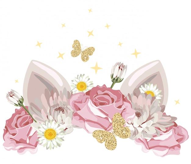 Personagem de desenho bonito com coroa de flores